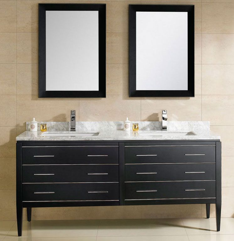 At Adoos 60 Inch Modern Double Sink Bathroom Vanity Black Finish