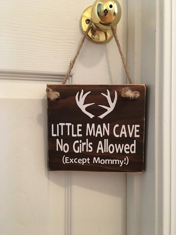 Photo of Mørkebrun – Little Man Cave Ingen jenter tillatt (unntatt mamma!) ™ – gevir – tre dørskilt – Littl