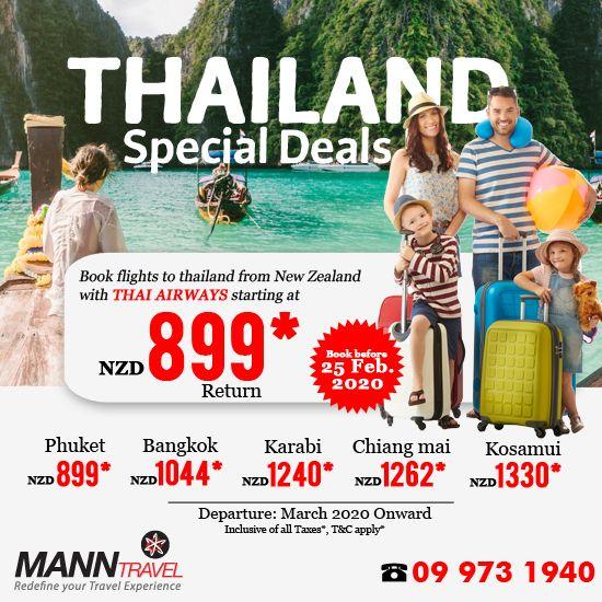 Thailand Calling! ✈️⛱ Fly with THAI AIRWAYS✈️✈️ Book a return flight to Thailand at just NZD 899* and SAVE BIG with Mann Travel!  HURRY !!!! LAST MINUTE OFFER VALID TILL 25 FEB 2020 To Book Call👉 09 973 1940   #manntravel #thailand #thailandcalling #cheapflights #flightdeal #cheapairfare #booktickets #travelagency #alwaysopen #manntravelnewzealand #thaiairways #phuket #bangkok #karabi #chiangmai #kosamui