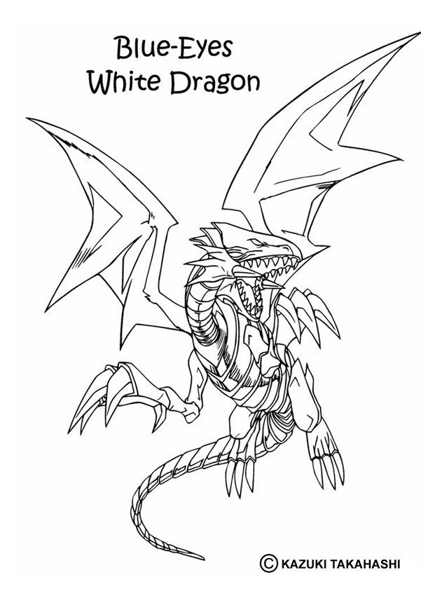 White Dragon Coloring Page More Yu Gi Oh Content On Hellokids Com