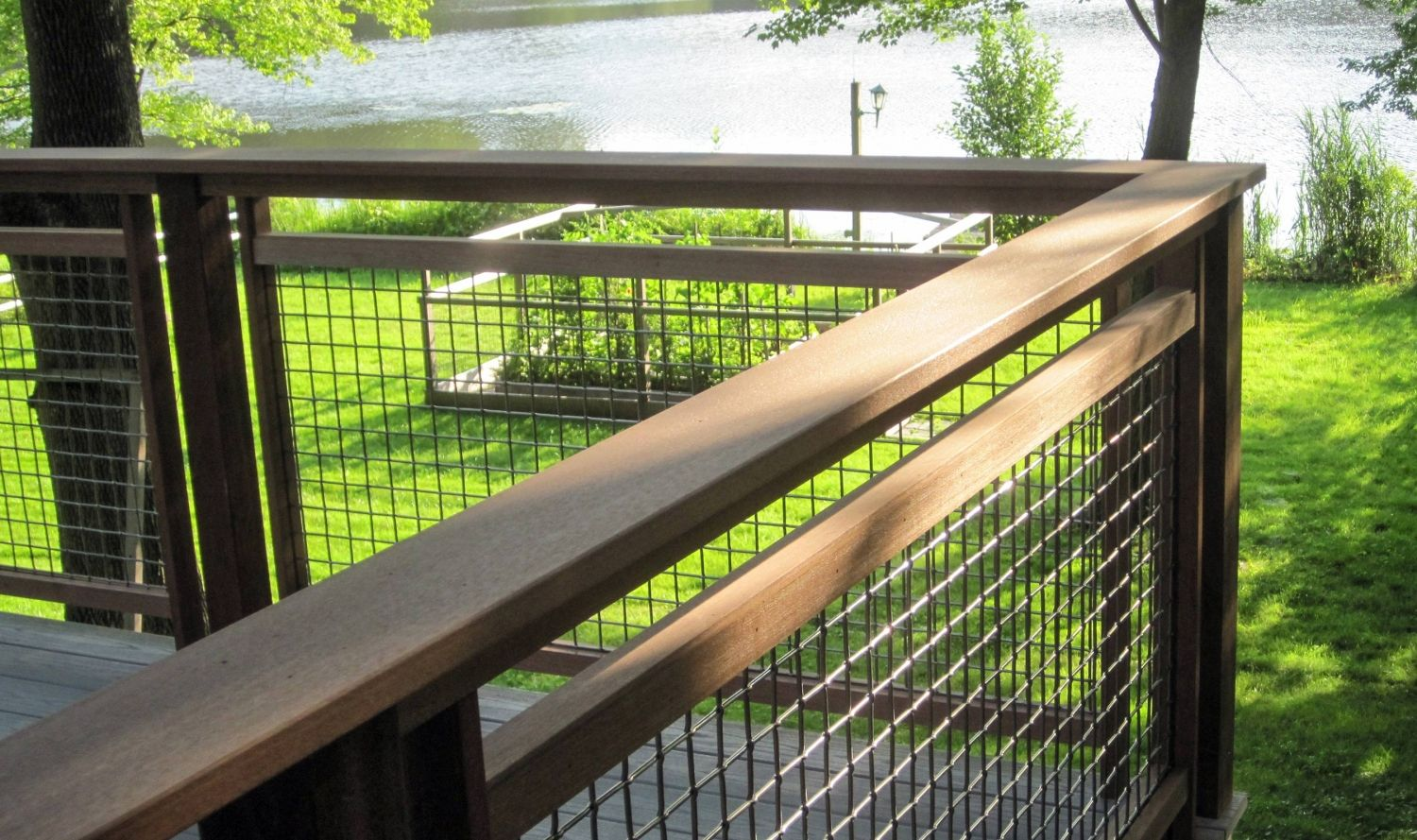 L 62 Woven Wire Mesh Is A Sturdy Mesh To Use As Railing Infill For This Back Yard Deck Deck Railings Wood Deck Railing Patio Fence