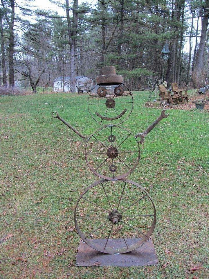 Iron Snowman Metal Garden Art Metal Yard Art Metal Tree Wall Art