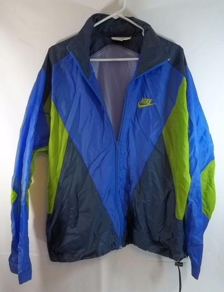 e5afc5de18c3 Nike Jacket L Vintage 80 s Windbreaker Mesh Lined Full Zip Vented Back  Nike   Windbreaker