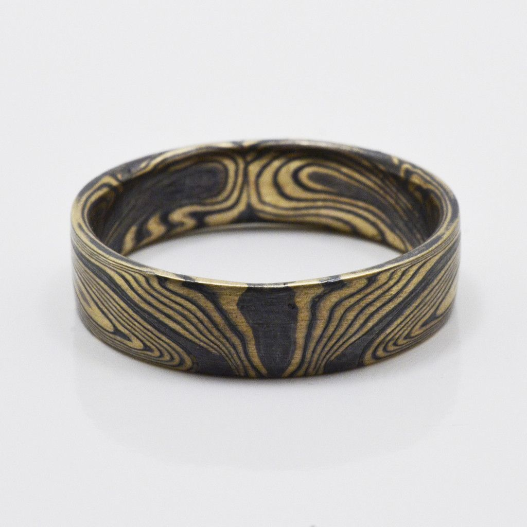 Book matched Mokume Gane Ring in 14kt Yellow Gold and Oxidized Silver