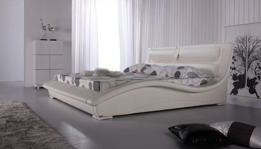 Contemporary Bed Design For Bedroom Furniture, Napoli White Collection By  Matisse