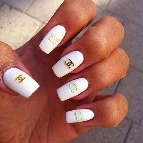White Chanel Symbol Manicure Chanel Nail Art Chanel Nails Luxury Nails