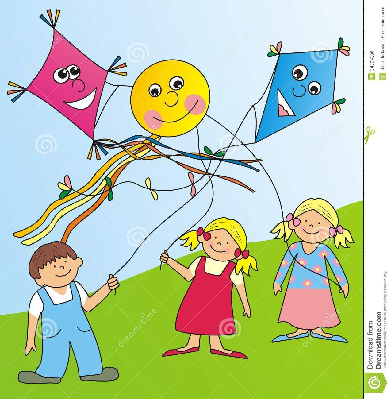 Pictures Of Children Flying Kites Royalty Free Stock Image