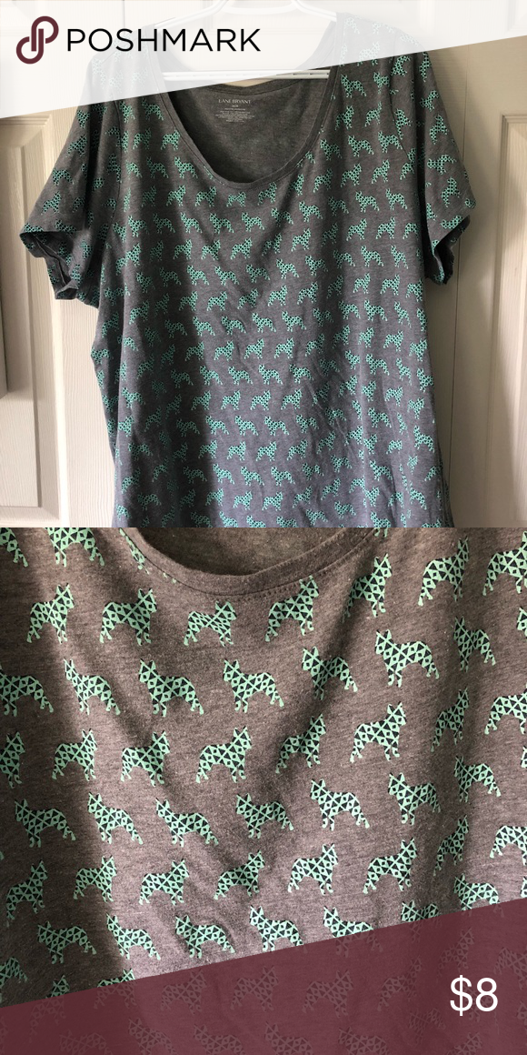 f63e12bd4fae T-Shirt with a Puppy Pattern Gray T-shirt with light teal puppies on it  that have a geometric pattern on them. 26/28, fits more like 24/26 Lane  Bryant Tops ...