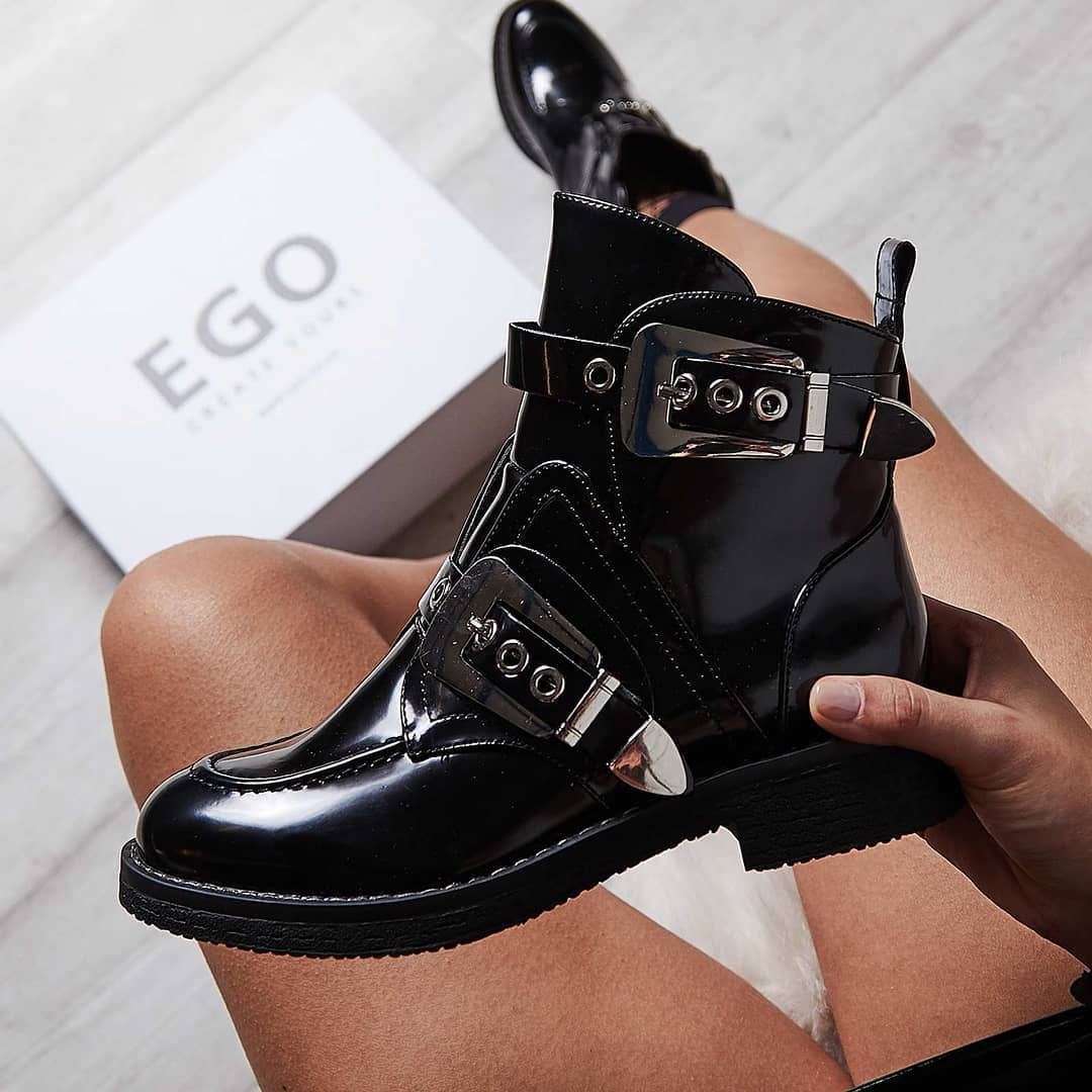 f2c31ee950163 Veyron Buckle Detail Biker Boot In Black Faux Leather | Shoes,boots ...