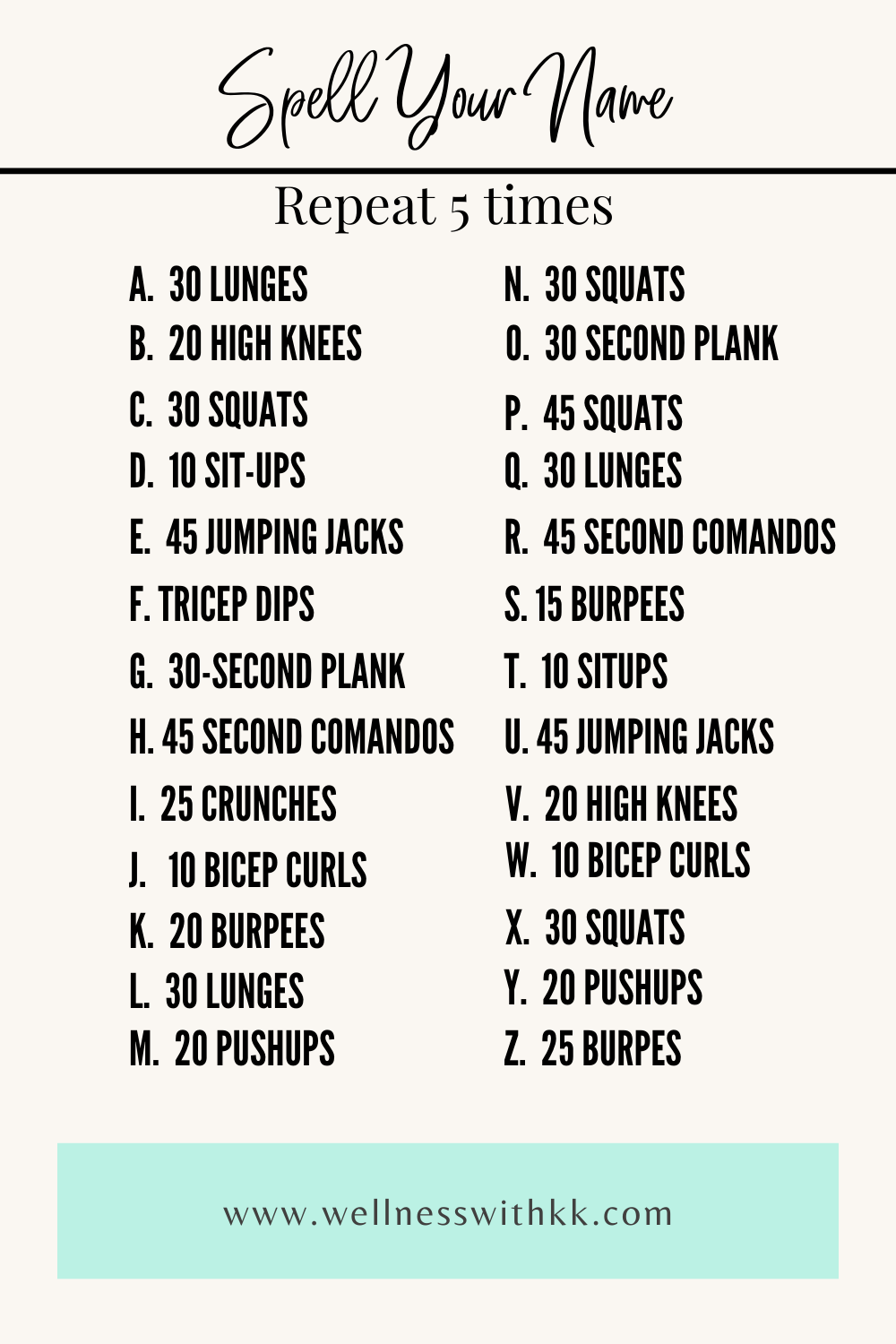 Spell Your Name Workout In 2020 Spell Your Name Workout At Home Workouts Workout