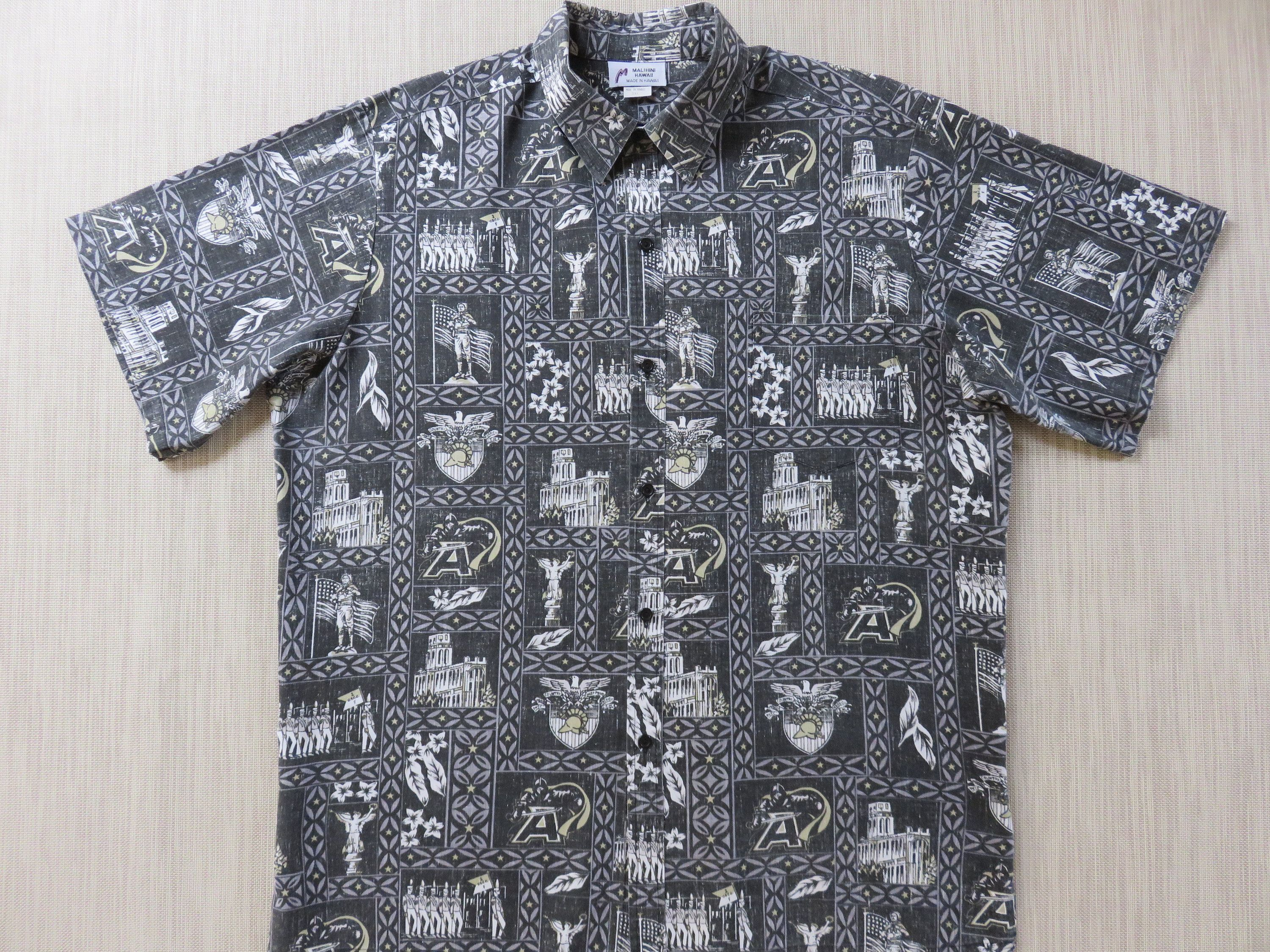 3880e03b West Point Hawaiian Shirt MALIHINI Army Mules Aloha Shirt Black Knights  USMA Hawaii Reverse Print Mens Camp - 3XL - Oahu Lew's Shirt Shack