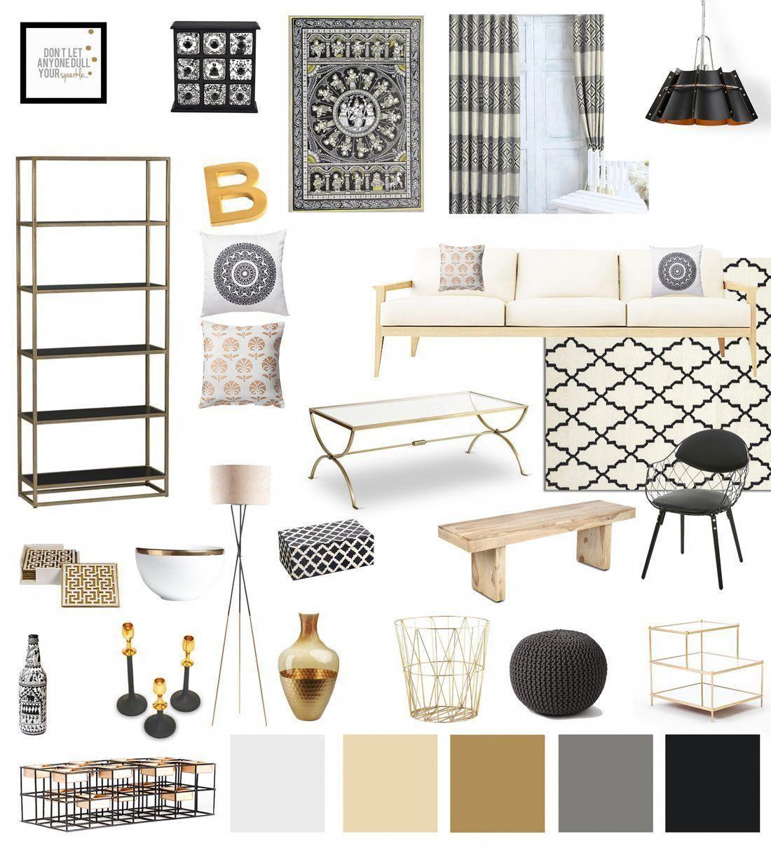 Black White Gold Living Room Decor Modernhomedecorlivingroom