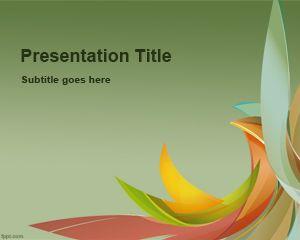Ppt Template With Green Background And Colorful Pastel