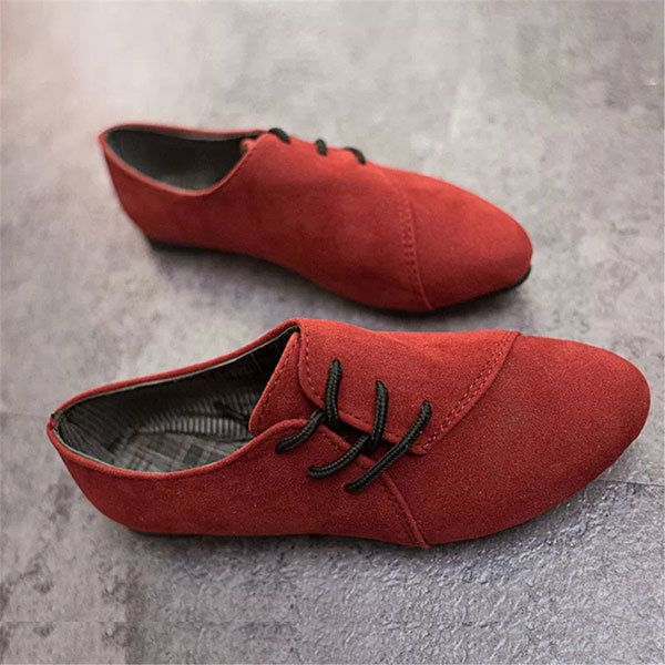 New Women Flat Loafers Comfortable Lace Up Suede Casual