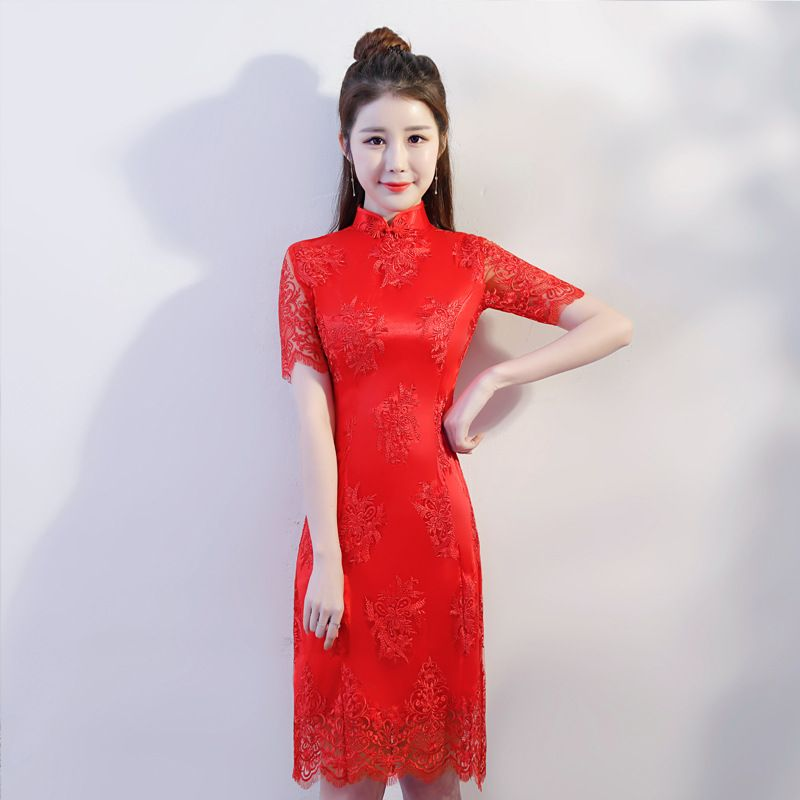 2181a04ab Red-Chinese-Women-Lace-Sexy-Tight-Dress-Summer-Vintage-Button-Improved- Cheongsam-Novelty-Mandarin-Collar-Short