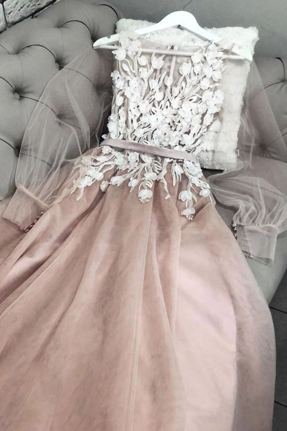 A Line Bateau Long Sleeves Floor Length Prom Dress With Appliques, Charming Formal Dress US$ 179.00 DVPPCPZ6N1B - dresses-vip