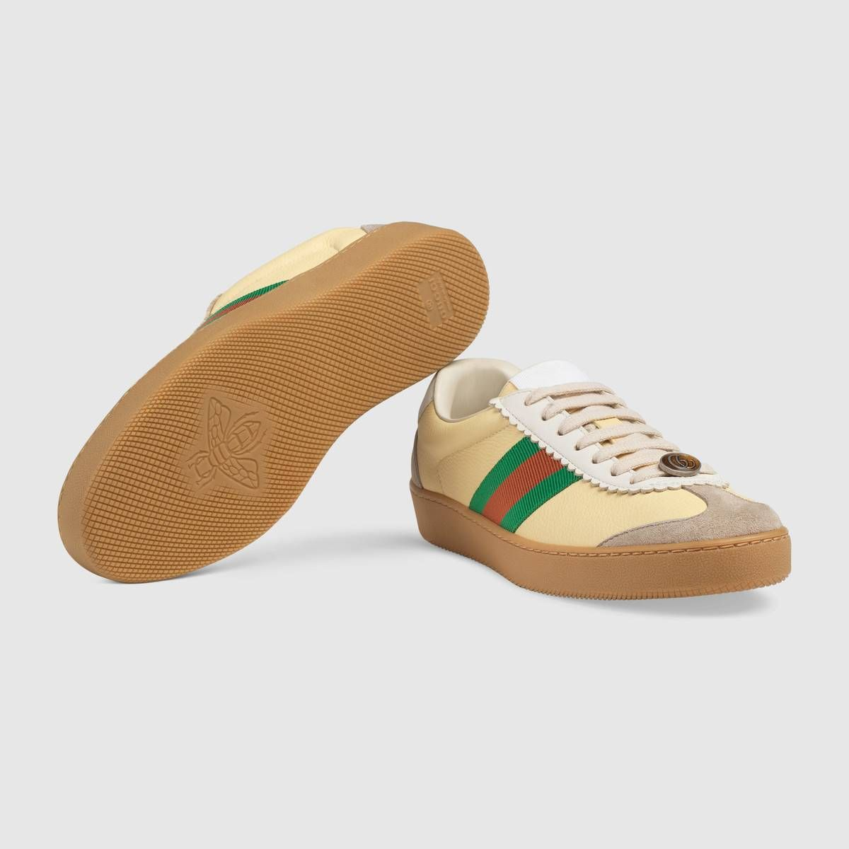 Leather and suede Web sneaker by Gucci