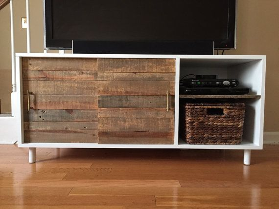 TV Stand with sliding doors for storage by AspenDesignCo on Etsy