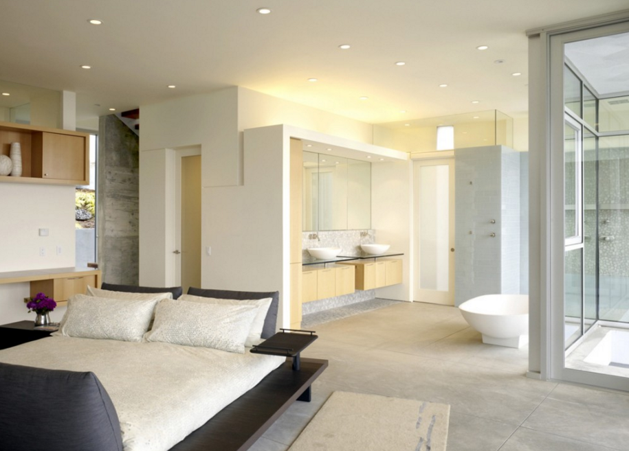 Decorating Ideas For Master Bedroom And Bathroom Innovative Open Design With A Glass Wall Using The Ba Open Bathroom Master Suite Bathroom Small Master Bedroom