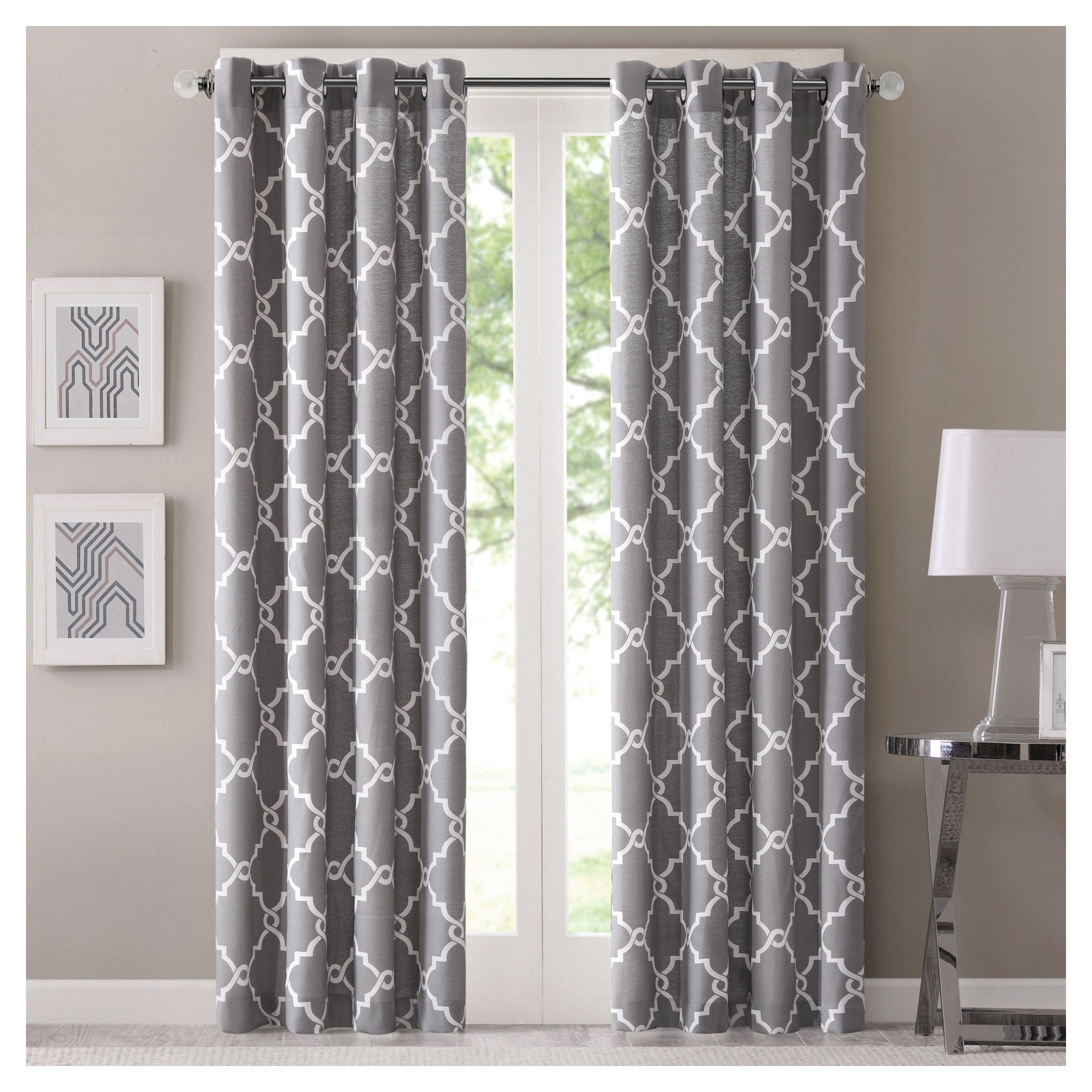 Target Bedroom Curtains Sereno Fretwork Print Curtain Panel Window Grey And Target
