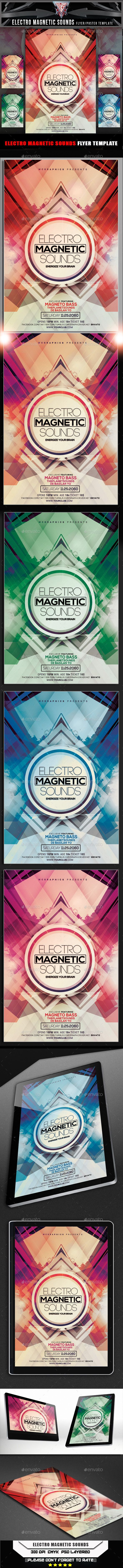 Electro Magnetic Sounds Flyer Template — Photoshop PSD #halloween #template • Available here → https://graphicriver.net/item/electro-magnetic-sounds-flyer-template/10695074?ref=pxcr