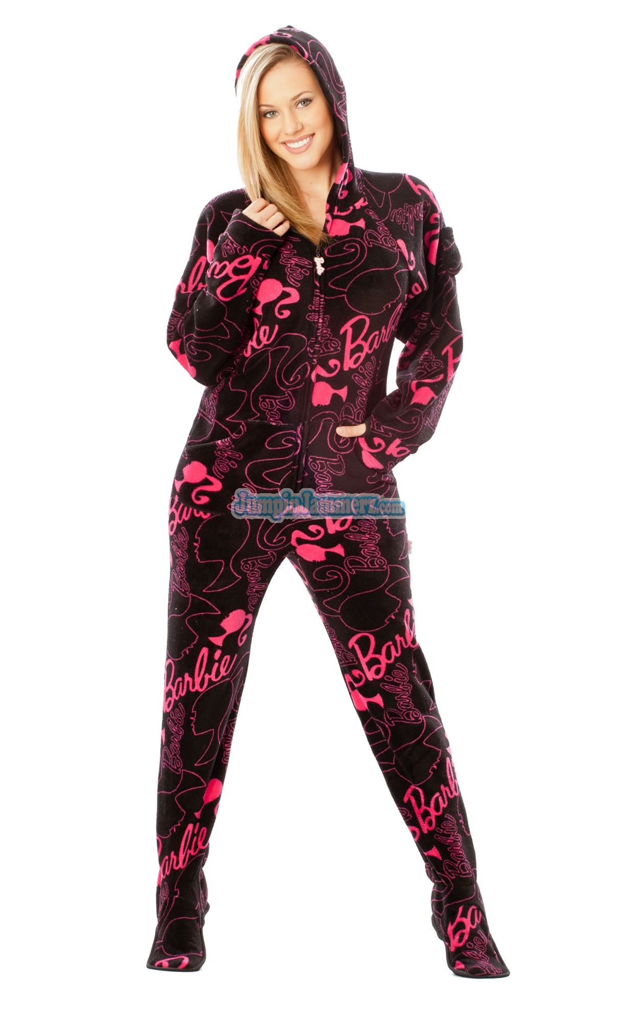 2592facc50 Barbie - Hot Pink - Barbie Footed Pajamas - Pajamas Footie PJs Onesies One  Piece Adult Pajamas - JumpinJammerz.com