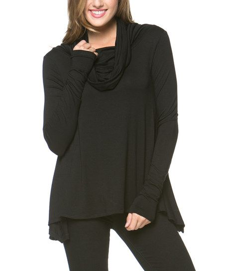 A La Tzarina Black Cowl Neck Sweater | Cowl neck