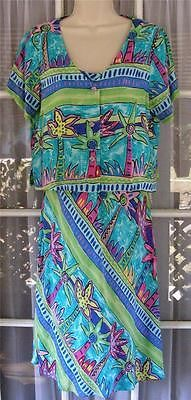 Palm Bay Hawaii Women's Medium Palm Tree Print Rayon Sundress & Short Jacket