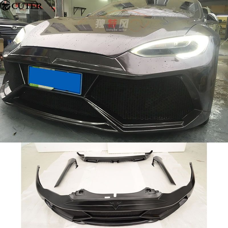 MODEL S FRP Car Body Kits Front Bumper Side Skirts Rear Bumpers For