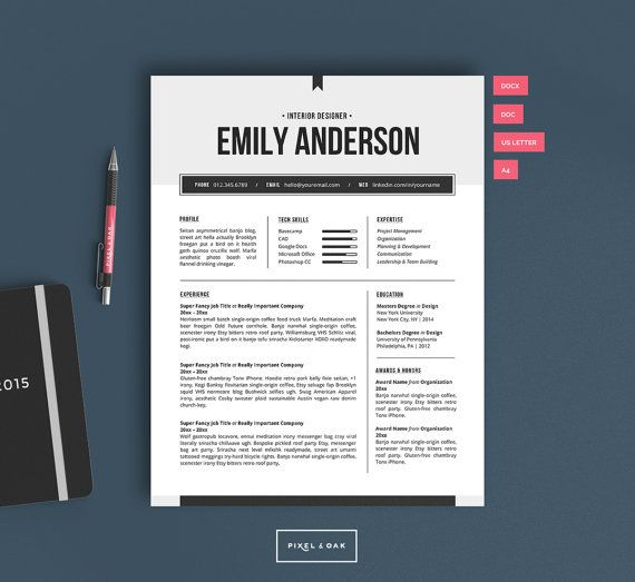 resume template  resume design  cover letter template