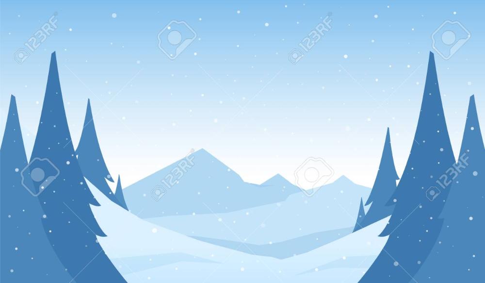 Vector Snowy Winter Mountains Cartoon Landscape With Hills And Winter Mountain Landscape Snowy