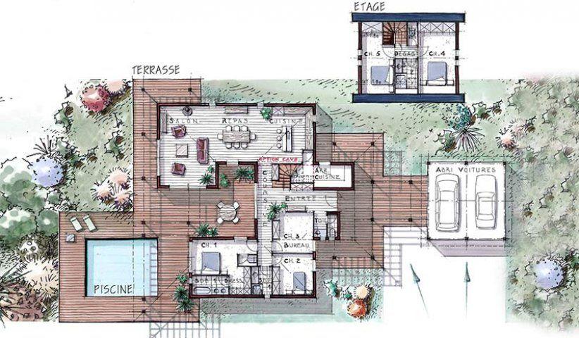Plan maison villa patio bois etage