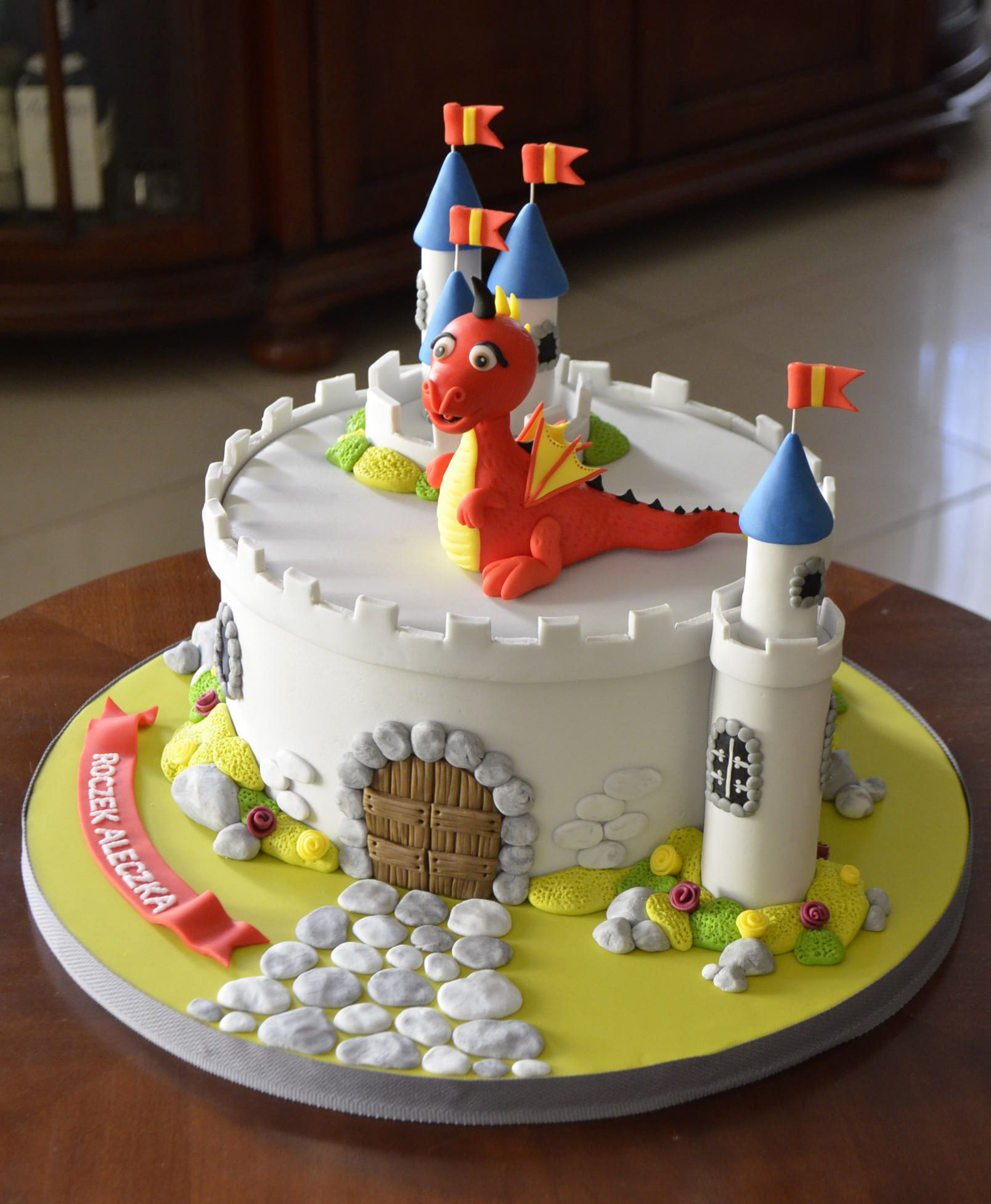 A Mike the Knight castle themed novelty cake Mike saves the day