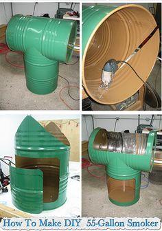 how to make diy 55 gallon smoker machine weld pinterest grill bauen kamin grill und fass. Black Bedroom Furniture Sets. Home Design Ideas