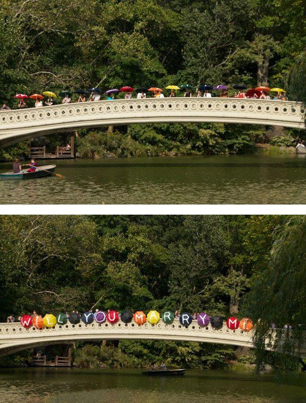 Umbrella Bridge Proposal Surprise ProposalWedding