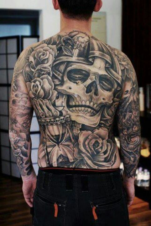b517ff2f7 Black and grey skull back piece tattoo | Full Back Piece Tattoo's ...