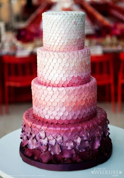 Ombre is a current hot trend, why not incorporate it in your cake too??   Forever Amour Bridal (212) 486- 2900 www.ForeverAmourBridal.com New York, New York 10022