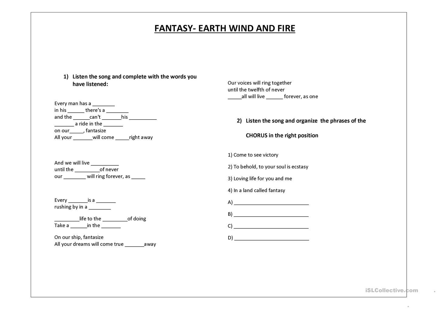 Listening Exercise Fantasy Earth Wind And Fire