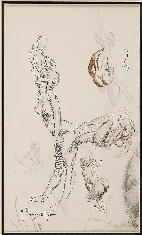 FRANK FRAZETTA - Female Nude Sketch (c. 1960s). - item by comics ha ...