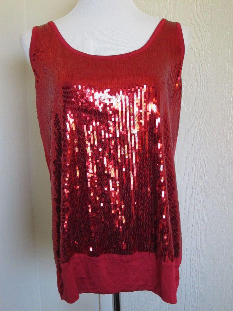 9762adb7e5ed67 Torrid plus size 1 16 18 red sparkle sequined sexy tank top NWT  Torrid   TankCami  Clubwear