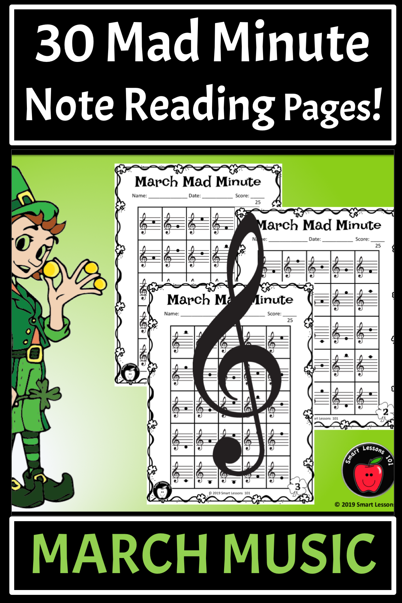 St Patricks Day Music Worksheets Mad Minutes Treble Clef
