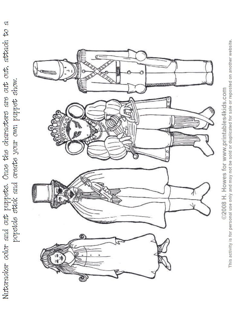 nutcracker print and color puppets   printables for kids