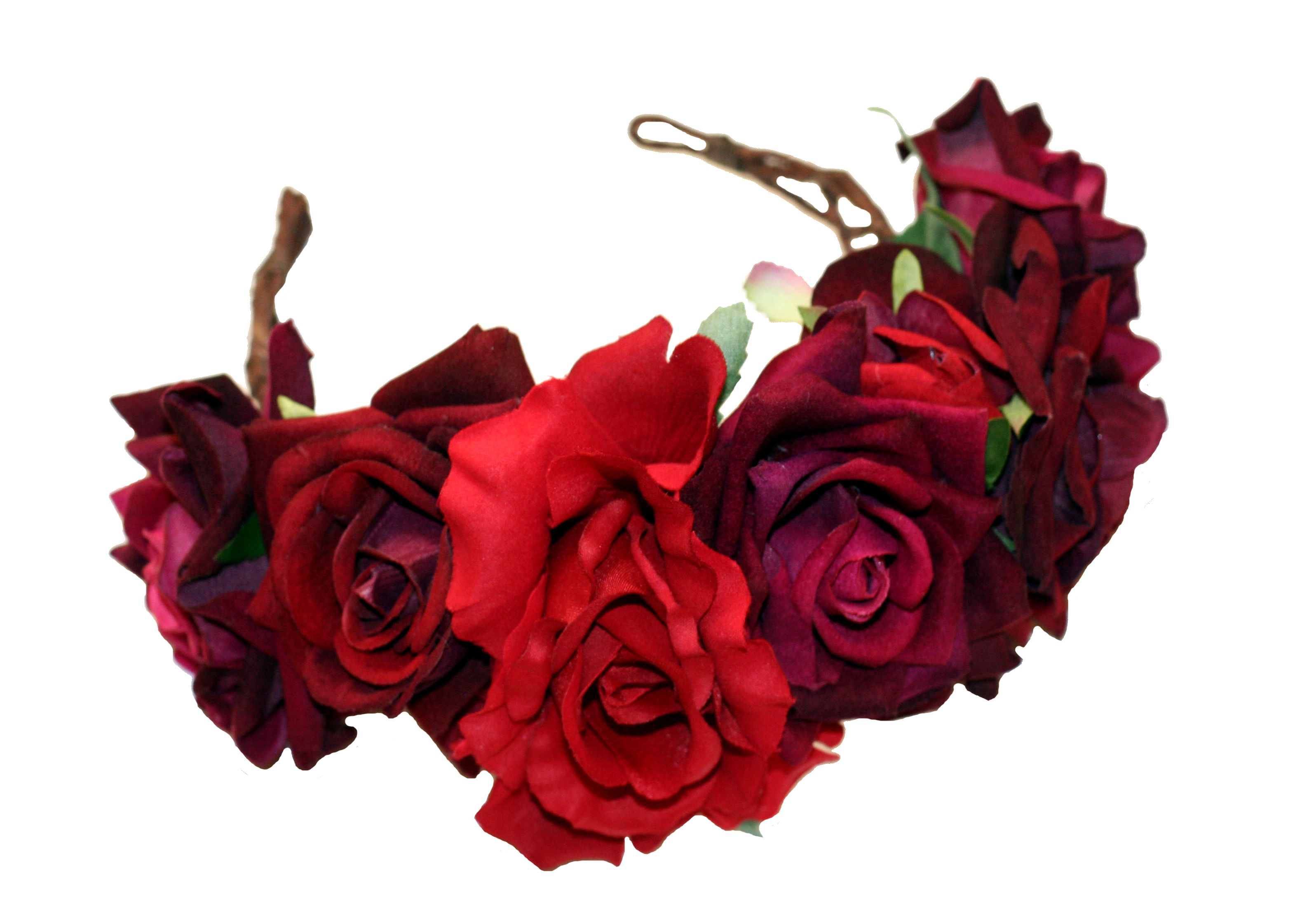 Divine rose crown, http://www.rosesandclementines.com/shop/#!/~/product/category=5340203&id=32021169 #flowercrown #floralcrown #rosecrown #flowergarland #floralheadwear #redrose