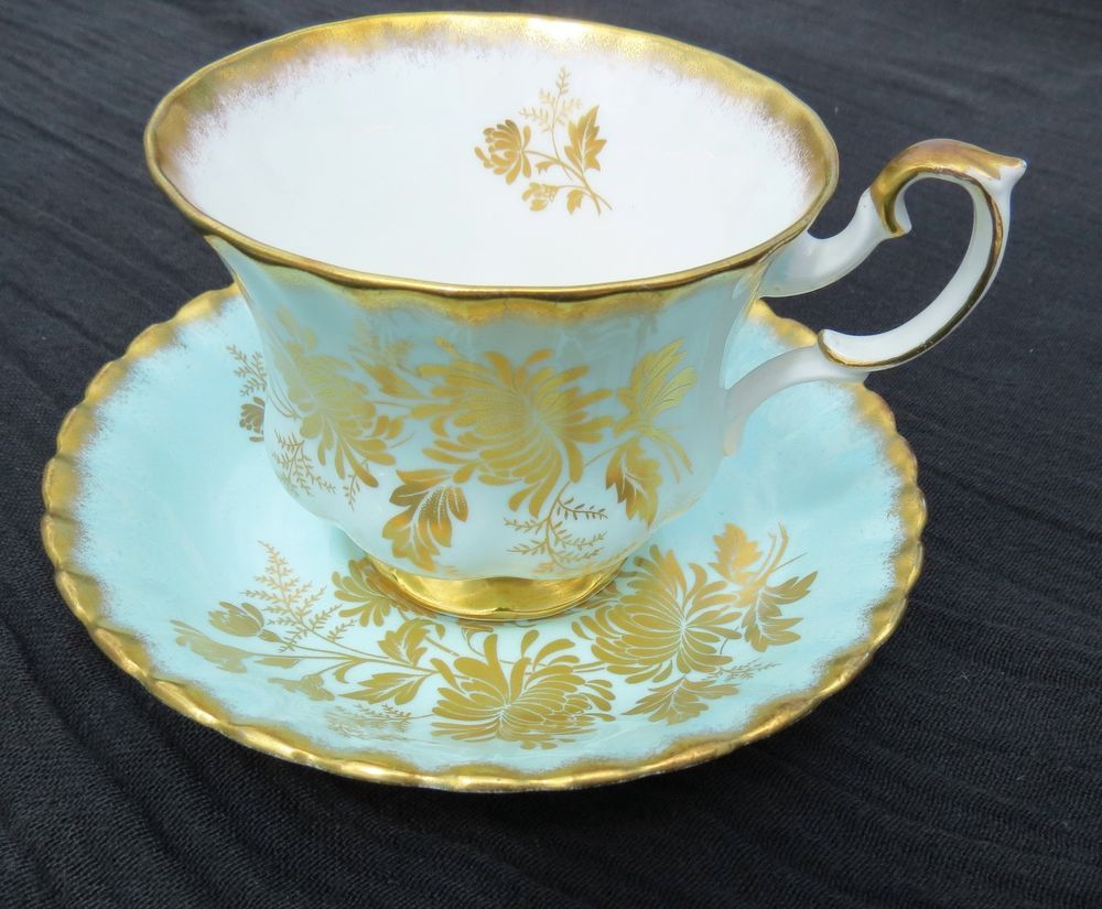 Royal Albert China Vintage Series Cup and Saucer Set Mint Green Gold Flowers