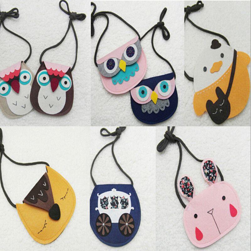 2016 새로운 아이 직물 귀여운 만화 지갑 가방 소녀 작은 가방 어린이 동물 장식 메신저 가방 선물 아이