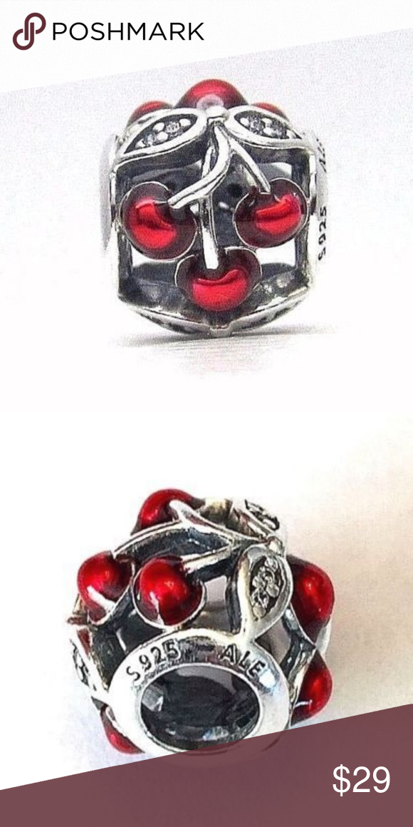 51b852a51 Pandora Sweet Cherry Charm #791900EN73 retired Pandora Sweet Cherry Charm  #791900EN73 new s925 ALE Juicy cherries decorate this delightful sterling  silver ...