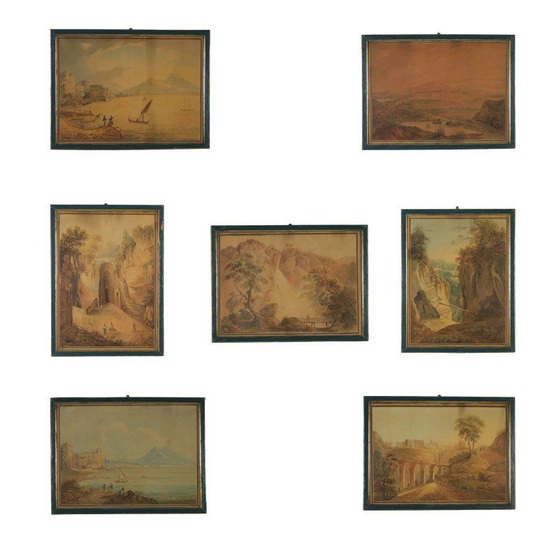 Inconnu - aperçu italien ensemble de sept aquarelles Art antique 1823
