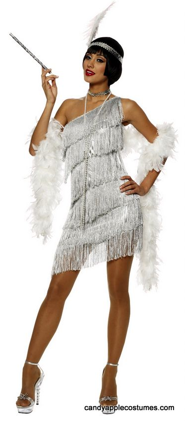 6eee0f4bcf58d6 Adult Sexy Silver Dazzling Flapper Costume - 20 s Costumes - Candy Apple  Costumes