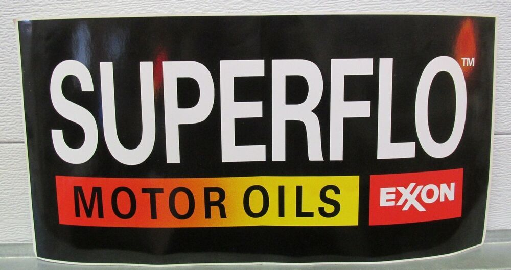 "Superflo Motor Oils Exxon Black Vinyl Decal  9.5/"" x 19/"" *Gas /& Oil"