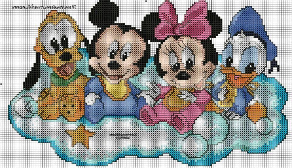 Grille b b plut t mickey minnie et donald grille punto croce punto croce a tema disney - Mickey et plutot ...